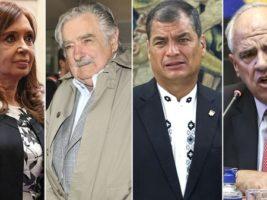 Cristina Kirchner, José Mujica, Rafael Correa y Ernesto Samper, ex presidentes sudamericanos