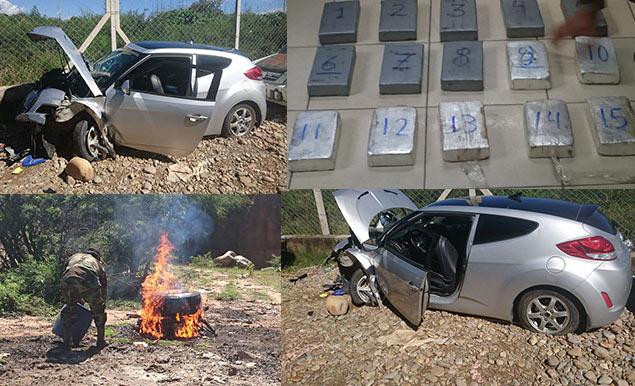Hallan en Tarija 15 kilos de cocaína en un auto que chocó contra un árbol