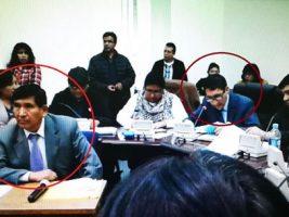 El presidente del CM (izquierda) en la evaluación con participación de Flores Quisbert.