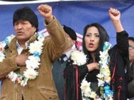 Presidente de Bolivia y la ministra de Culturas