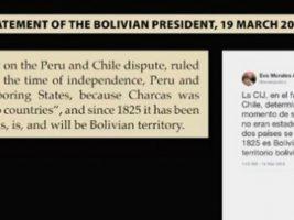Chile presenta un tuit de Evo a los jueces de la CIJ