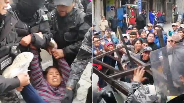 Policía echa por la fuerza a desocupados de plaza Murillo