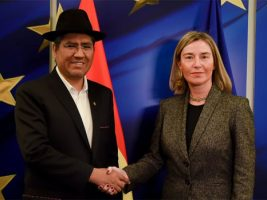 Canciller de Bolivia y la jefa de la diplomacia de la UE