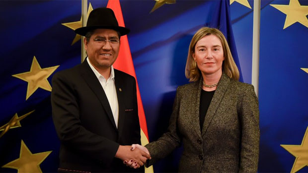 Canciller Pary habló con jefa diplomática de UE sobre Venezuela y elecciones en Bolivia