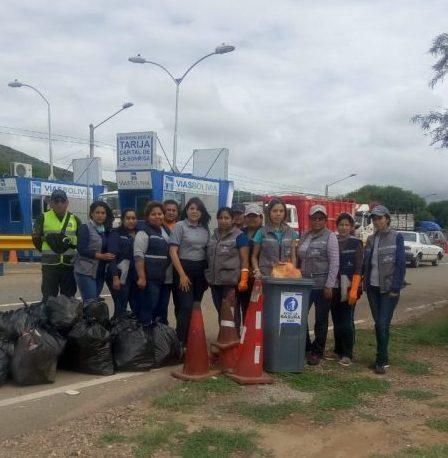 Vías Bolivia inicia campaña de limpieza en los retenes del departamento de Tarija