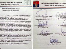 Frente Revolucionario de Izquierda suspendió a su vicepresidente Víctor Hugo Landivar,
