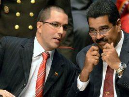 Canciller de Venezuela junto al presidente