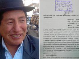 Rafael Quispe presenta denuncia penal contra Evo
