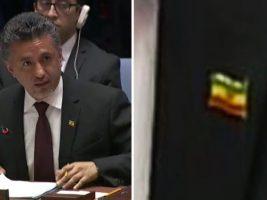 Lució la bandera al revés en sesión de ONU
