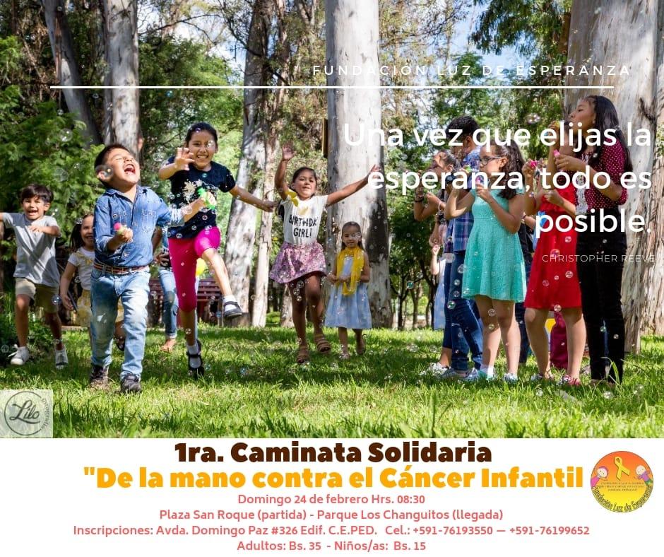 Invitan a la población a la gran caminata en apoyo a los niños con cáncer en Tarija