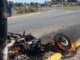Accidente que termina en incendio