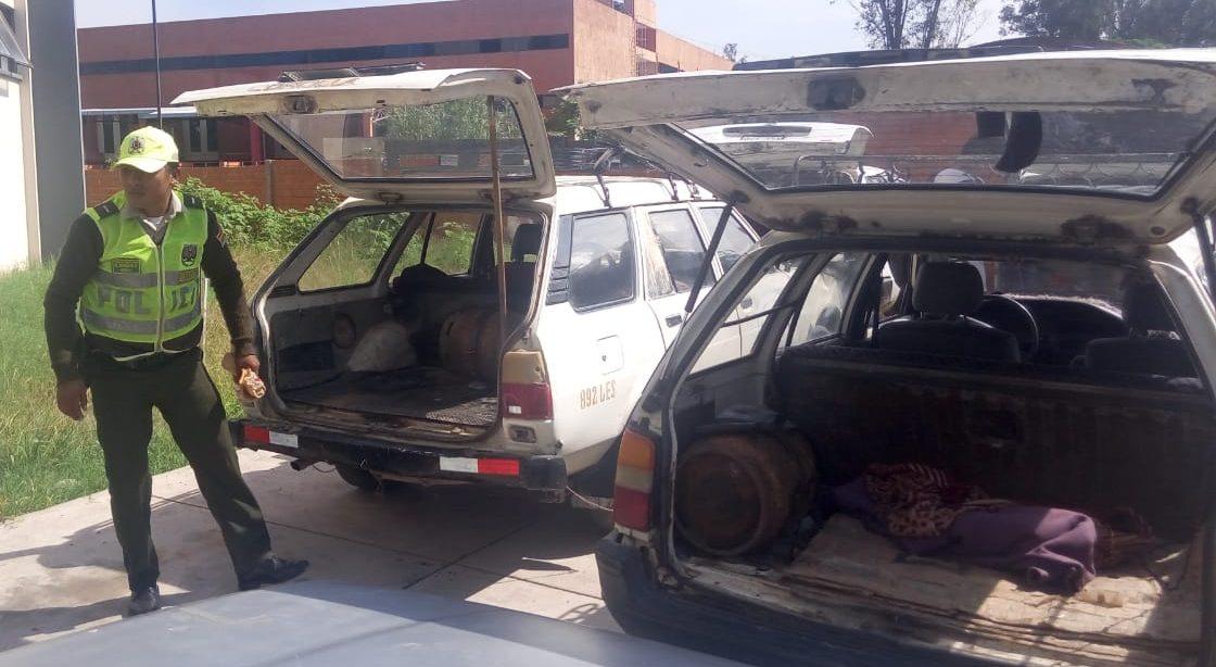 Tránsito detiene a 9 taxis con que funcionaban con garrafas de GLP en Tarija