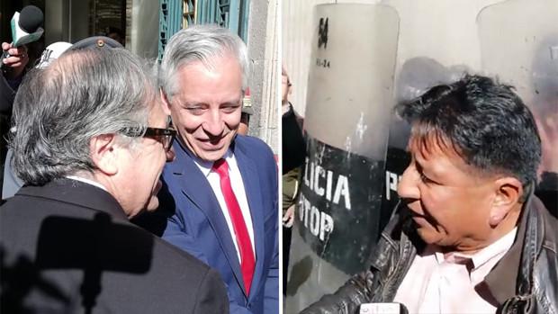 """Activista le gritó """"Bolivia Dijo No"""" a Almagro en Palacio"""