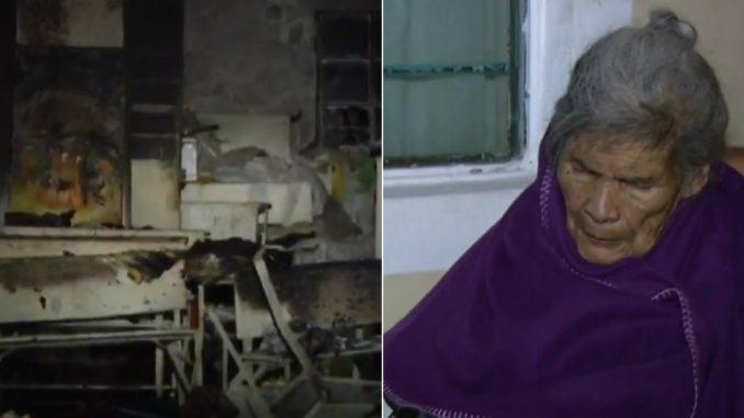 Ladrones quemaron la casa de una anciana de 95 años, con ella adentro
