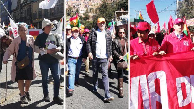 Cívicos, Conade y candidatos marchan para exigir renuncia de los vocales del TSE