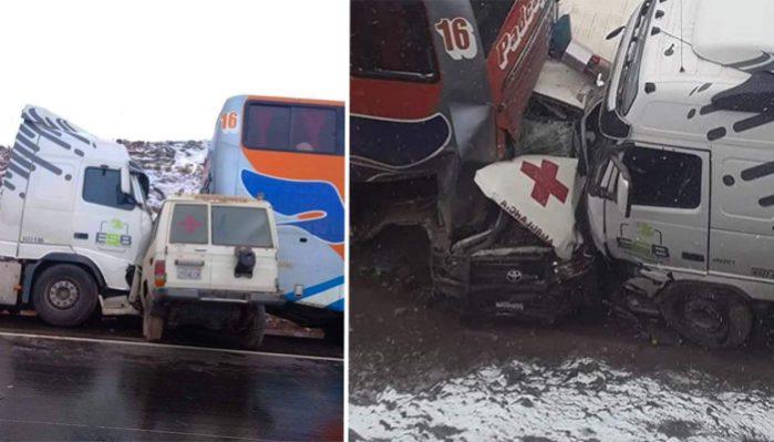 Hubo tres accidentes en la carretera Cochabamba-Oruro por la nevada
