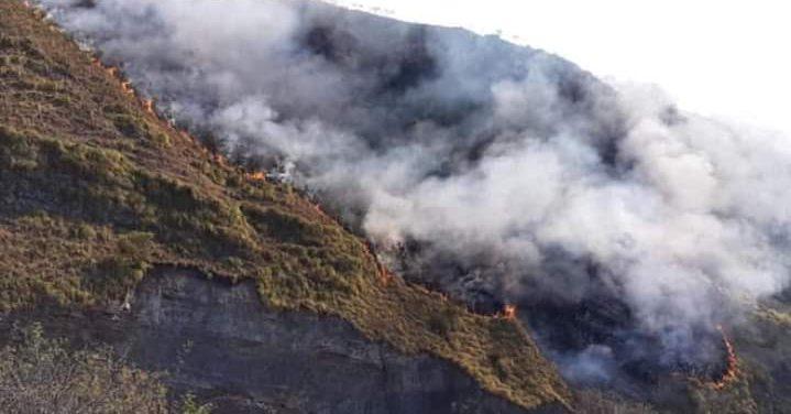 Registran un incendio de magnitud en la comunidad de Canaletas de Tarija