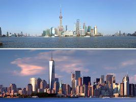 De arriba abajo: Shanghai y Nueva York