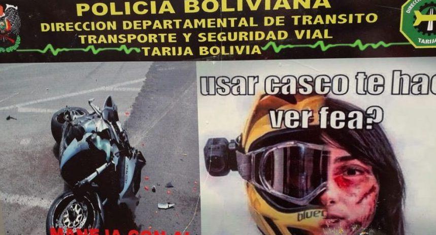 Colisión de vehículo con una moto deja dos personas heridas en Tarija