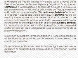 Ministerio de Trabajo, Día de la Mujer Boliviana