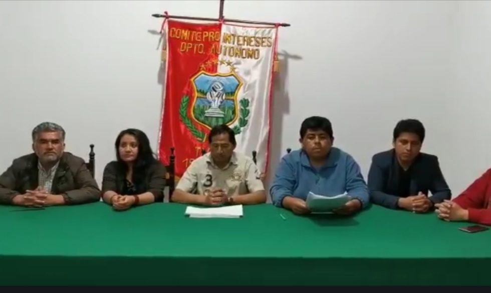 Comité Cívico de Tarija decide apoyar la marcha y cabildo en defensa de la democracia