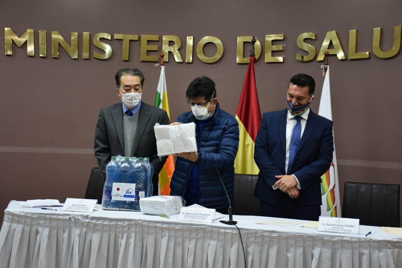 Bolivia recibe donación de equipos de bioseguridad de Japón y México para trabajadores en salud