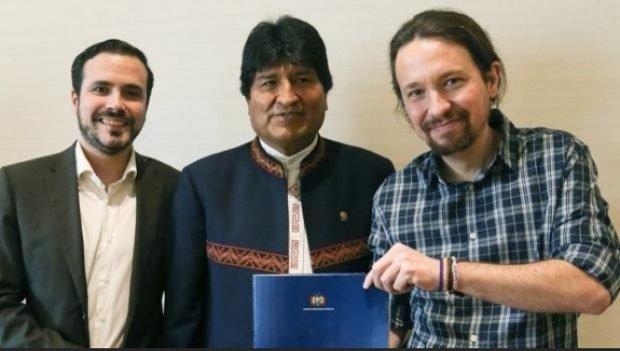 Alberto Garzón, Evo Morales y Pablo Iglesias