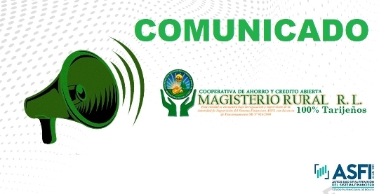 Cooperativa Magisterio Rural de Tarija emite un comunicado sobre las cajas de ahorro