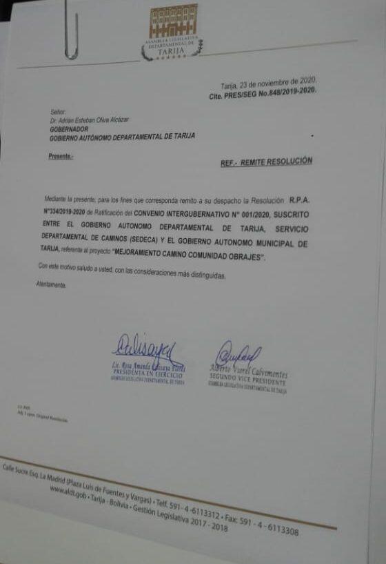 Asamblea de Tarija ratifica el convenio para el asfaltado del camino a Obrajes
