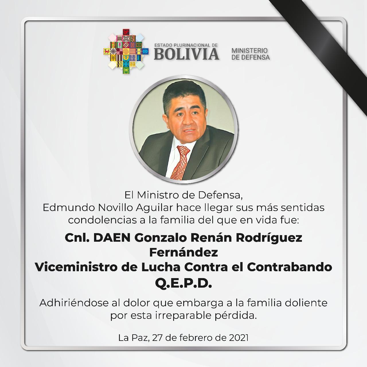 Fallece el Viceministro de Lucha Contra el Contrabando