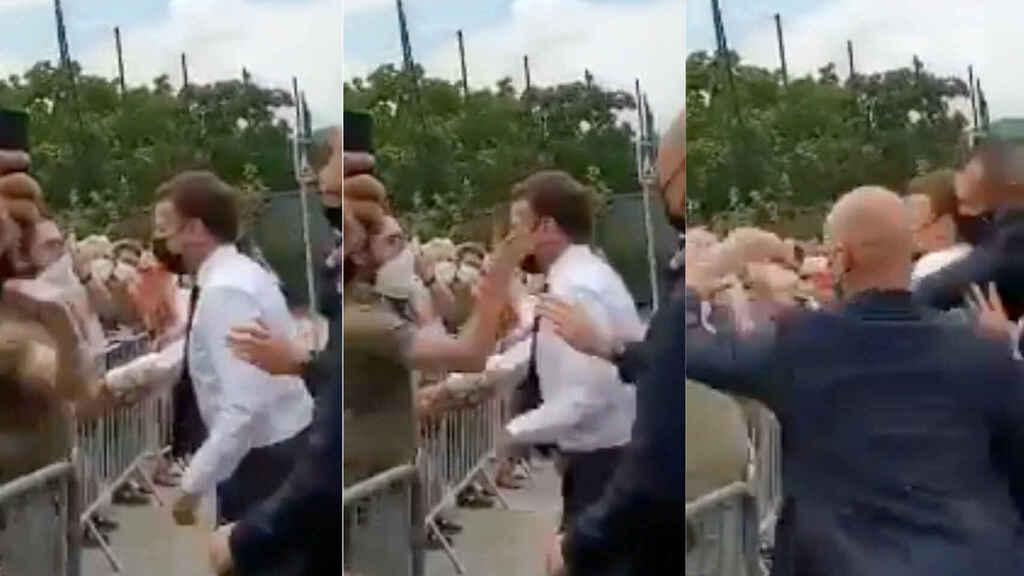 Macron se acercó a saludar a un grupo de ciudadanos y fue abofeteado en el sur de Francia